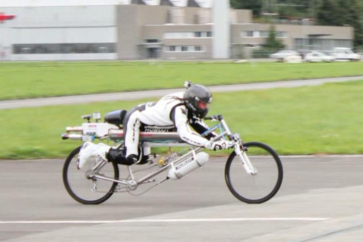 Francois Gissy on his rocket-powered bicycle