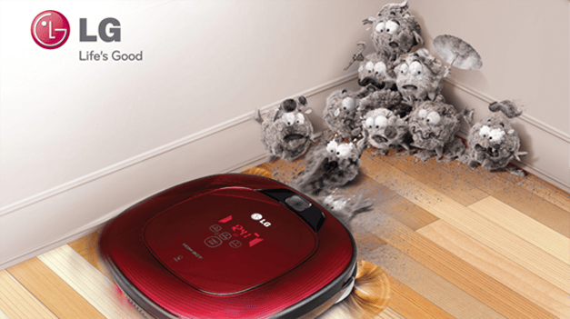 Instead of a disc-shaped design, LG's latest robotic vacuum cleaner has flat sides and corners