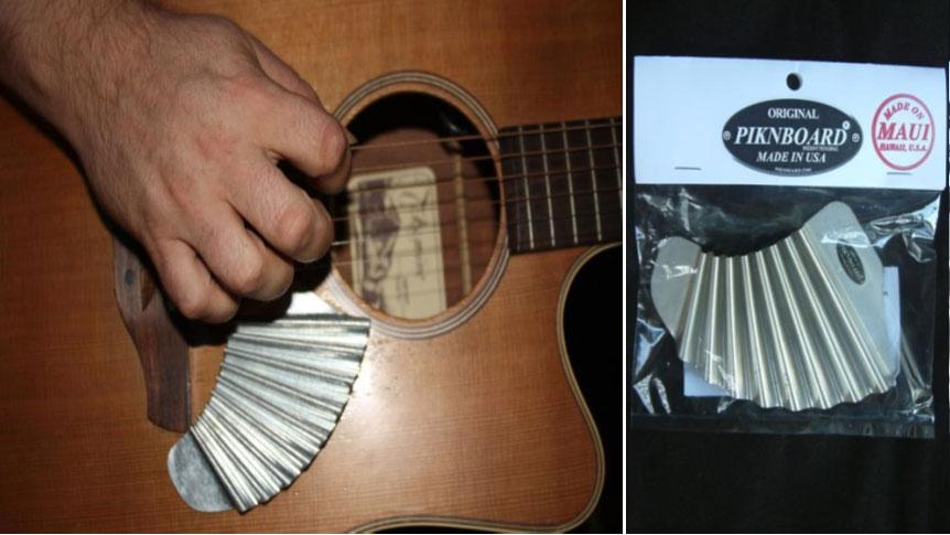 The Pik'N Board is a mini-washboard attached to the face of a guitar that can be used by players to provide their own percussive accompaniment