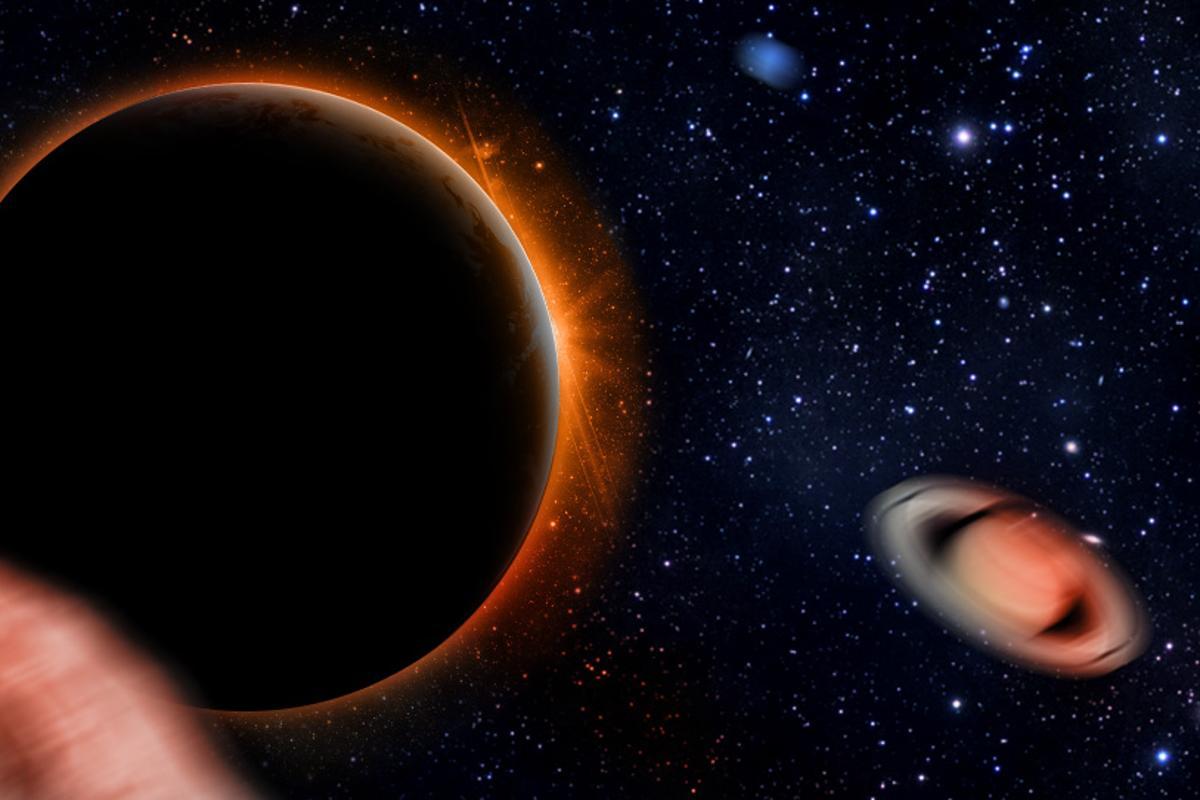 Artists impression of Planet Nine barreling through the solar system