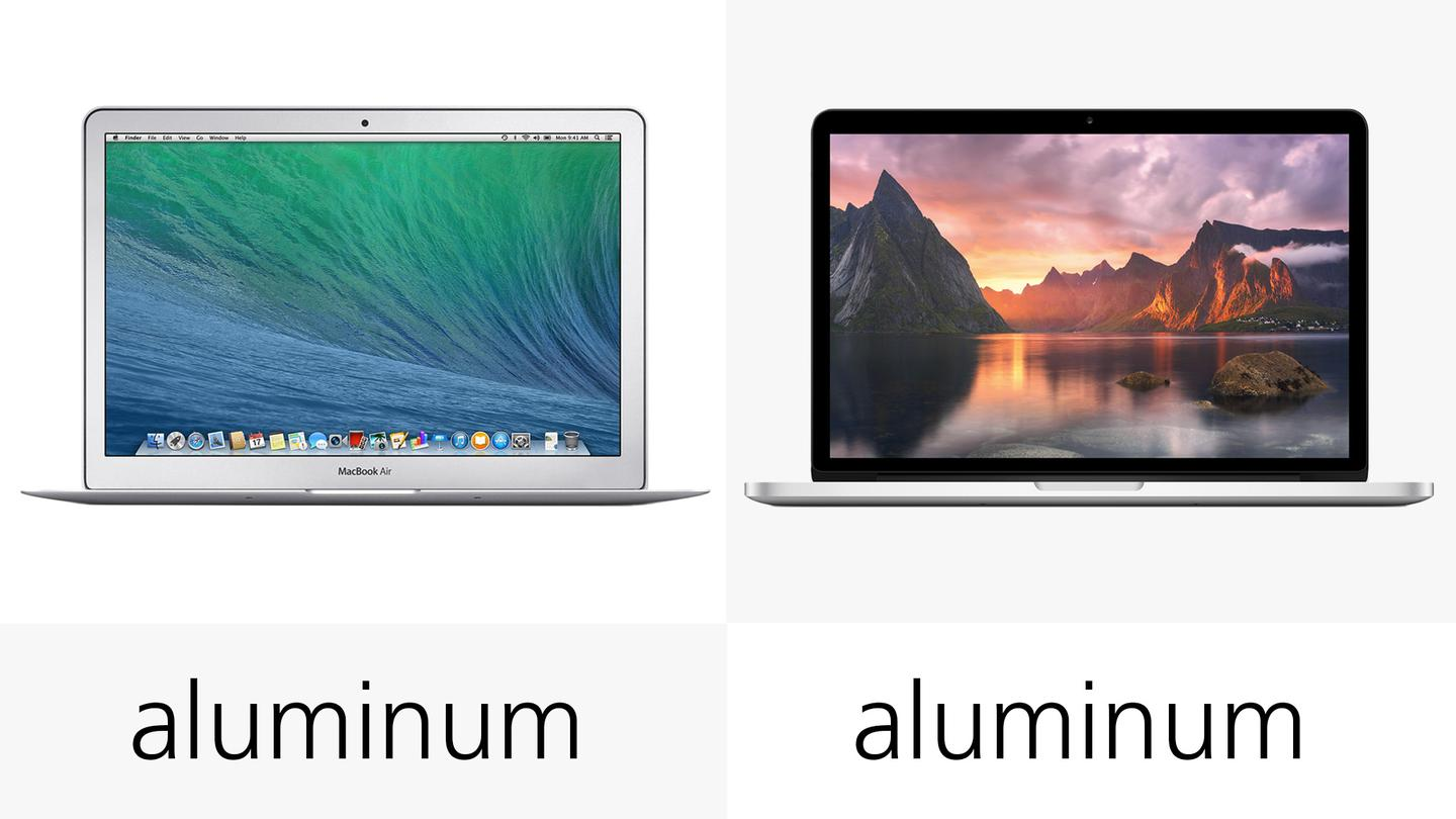 Both MacBooks have aluminum exteriors