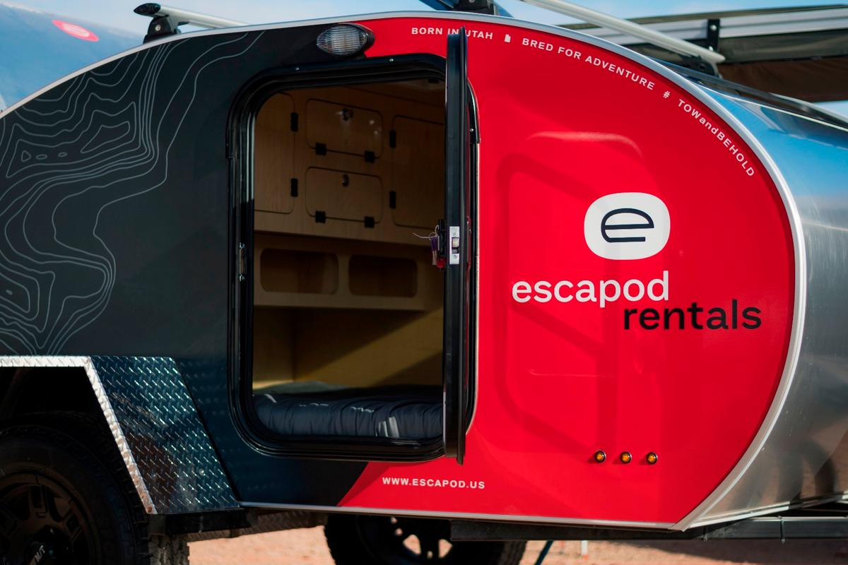 In addition to the upcoming rental service in Northern Utah, Escapod has partnered with Red Rock Base Camps in Moab, Utah, a service that delivers the trailers right to your campsite, no need to tow yourself