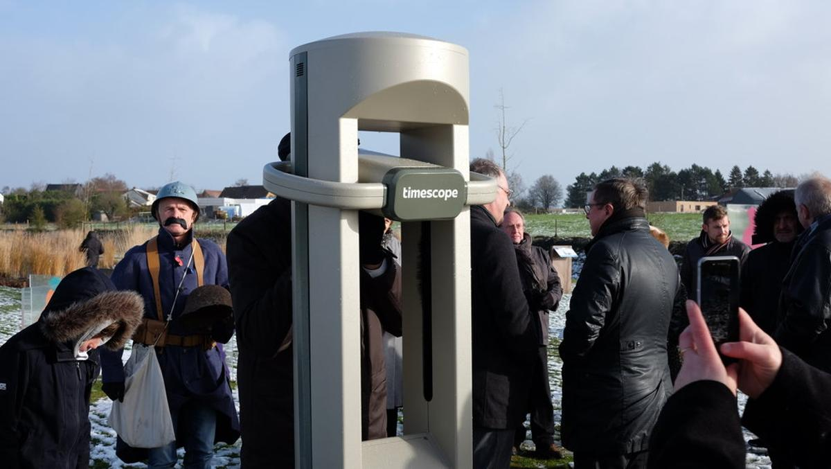 The free-to-use Timescope kiosk installed earlier this monthat the Monument des Fraternisations