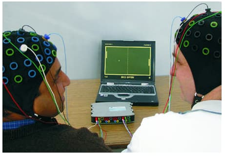 An example of BCI control ... players enjoying Pong. In this example, two persons are connected to the BCI system and each one is controlling the racket with motor imagery. The racket moves upwards by left hand movement imagination and downwards by right hand movement imagination