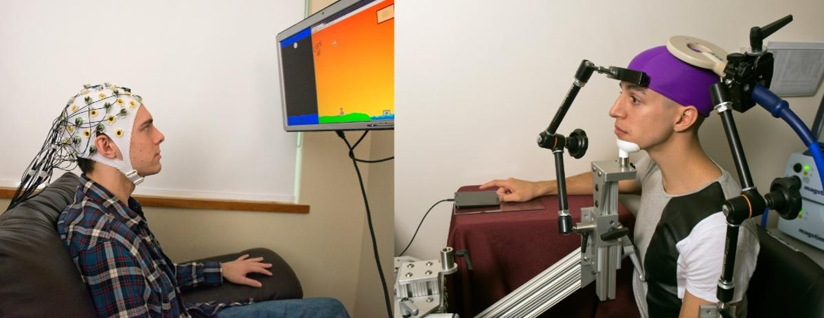 A subject's hand was moved remotely by having one subject thinking about moving their hand to play a video game (Photo: Mary Levin, University of Washington)