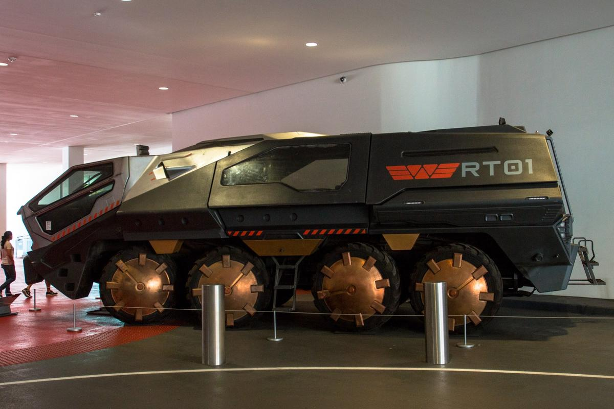 Starting out life as a Tatra T813 Czech military truck, this machine was rebuilt into the hulking'RT01 Transport' moon exploration vehicle for the 2012 filmPrometheus