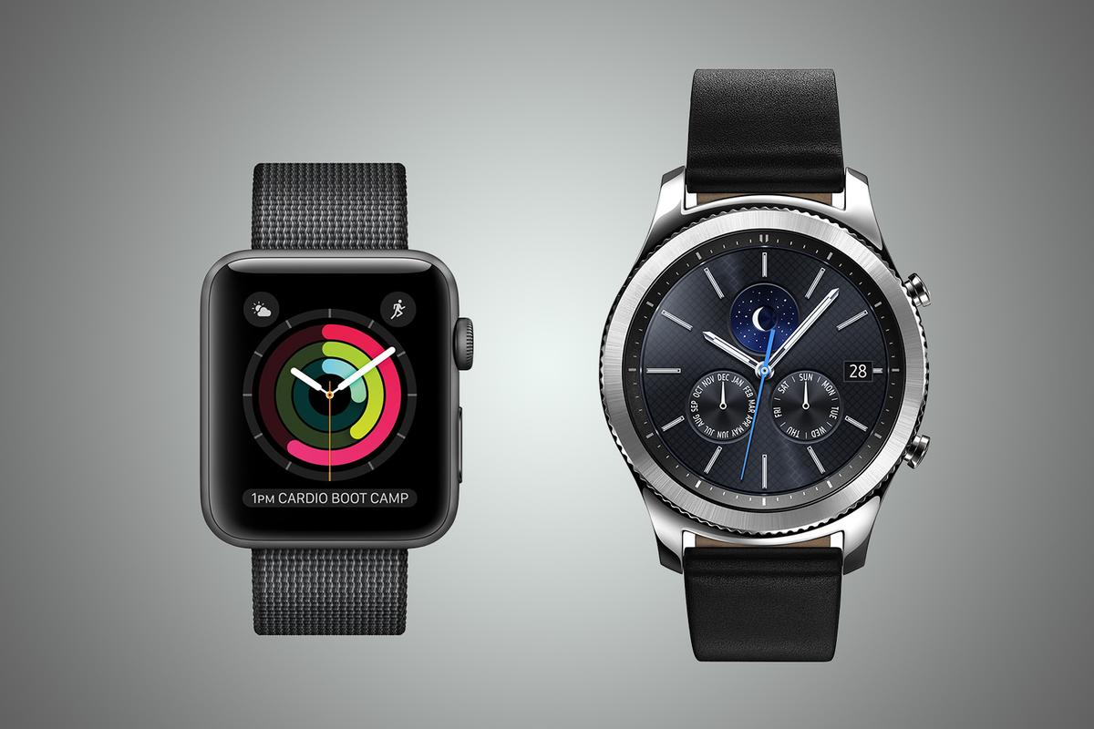 New Atlas compares the two premier smartwatches of our day: the latest Apple Watch (l) and Samsung Gear S3