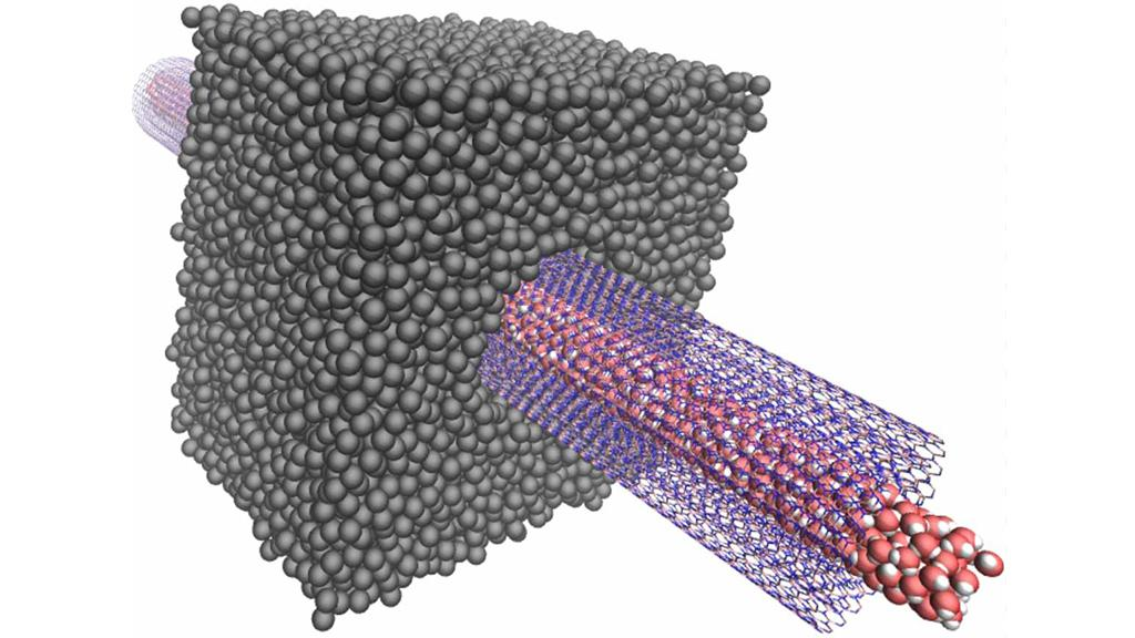 Diagram of the experimental device that sees the osmotic transport of water through a transmembrane boron nitride nanotube (Image: Laurent Joly (ILM))