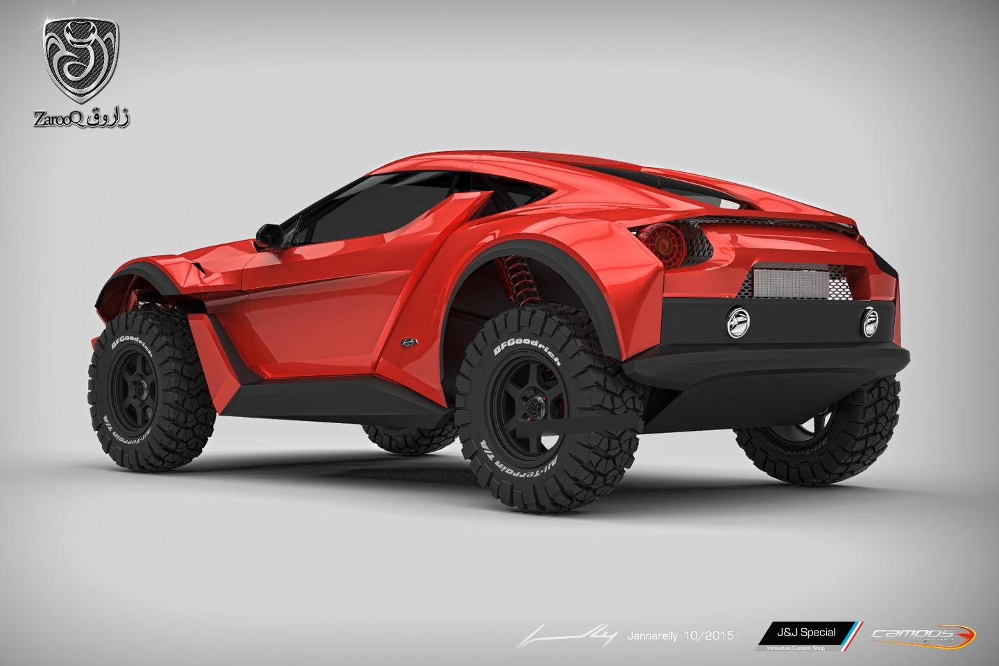 The Sand Racer rendering shows a high ride and rugged body