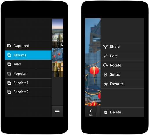 BlackBerry 10 Cascade interface