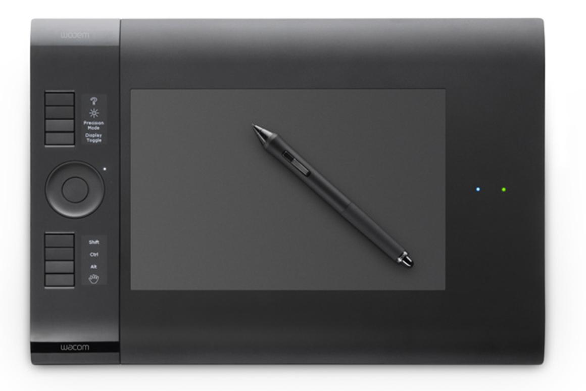 Wacom's Intuos4 Wireless doesn't have any, well, wires
