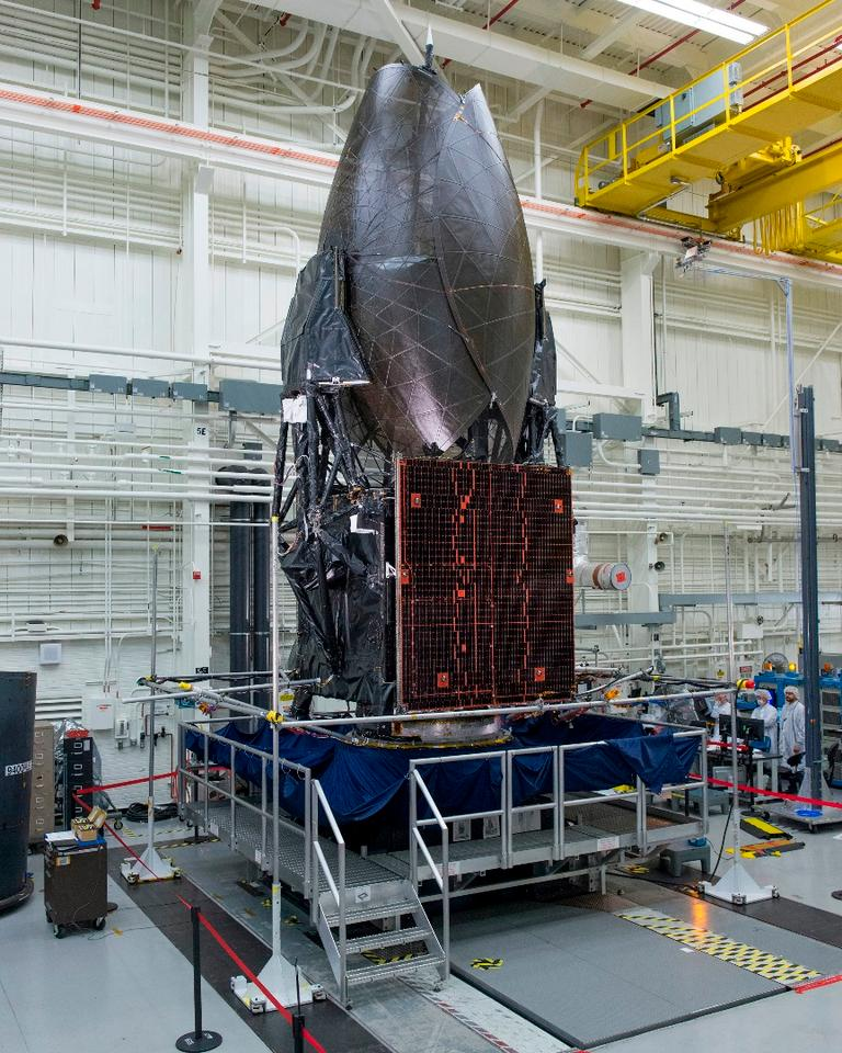 Boeing-built TDRS-M working its way through Boeing's El Segundo satellite factory as it readies for launch