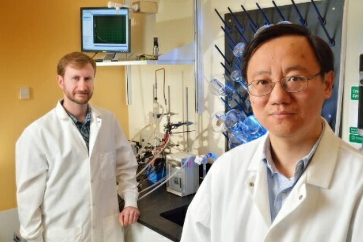 Virginia Tech's Prof. Percival Zhang (right) and doctoral grad Joe Rollin are part of the team that's claimed to have created a biological technique to produce hydrogen fuel cheaper and faster than other methods (Photo: Virginia Tech)