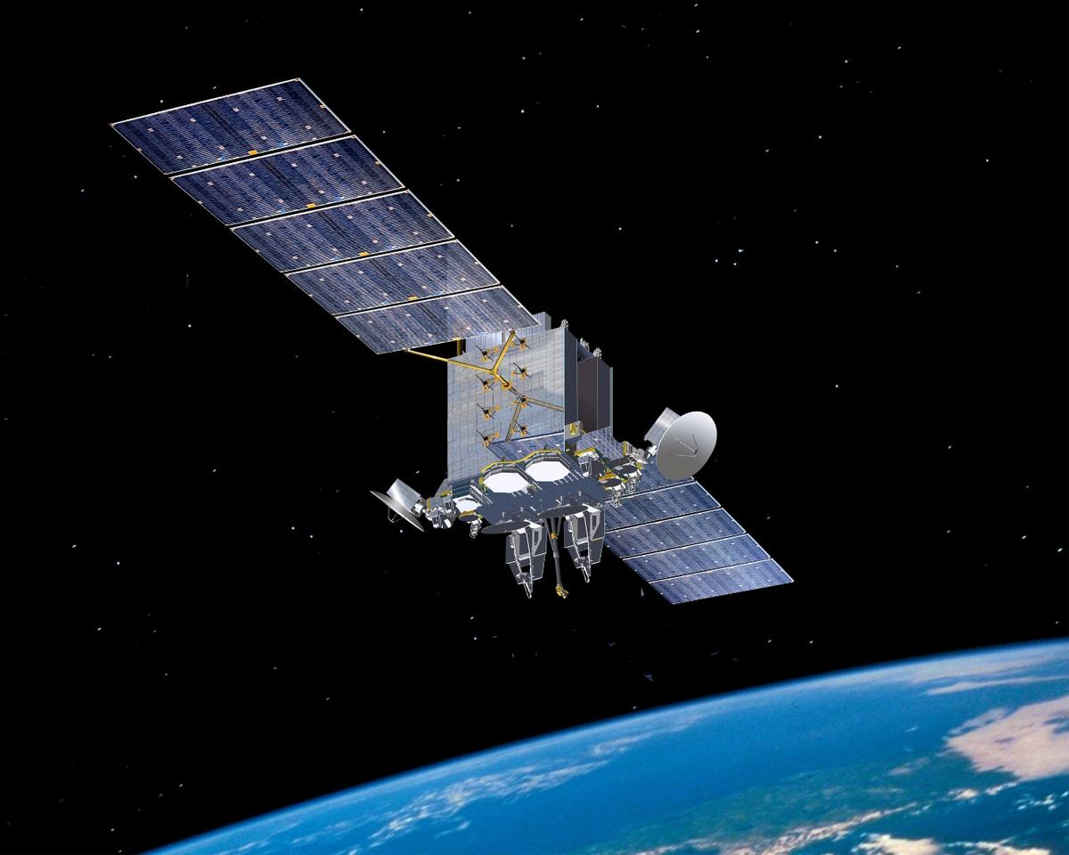 Artist's concept of the Lockheed Martin AEHF-6 satellite