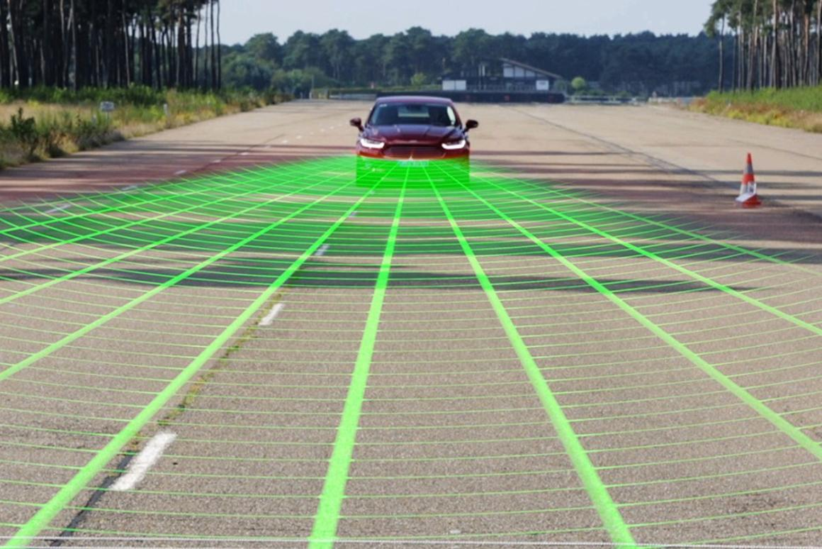 Radar scans the road for pedestrians