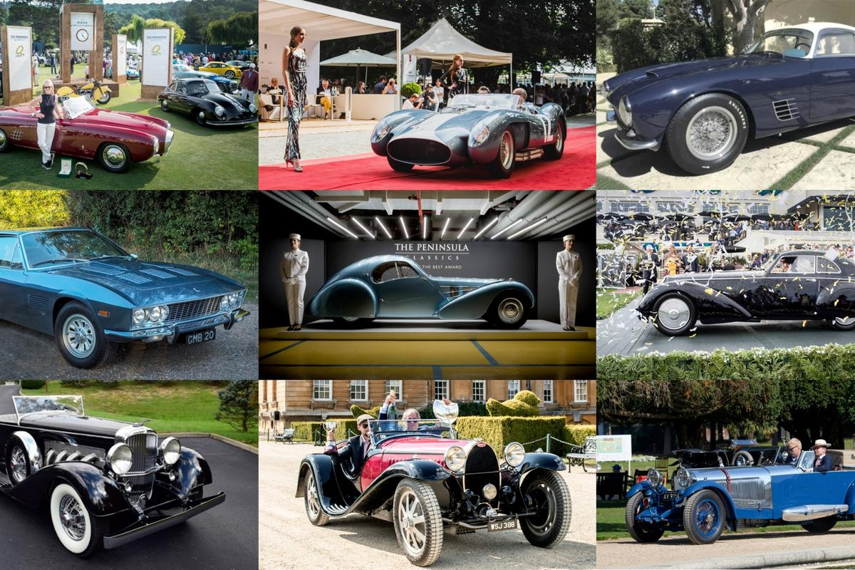 Last year's winning Bugatti surrounded by this year's eight contenders