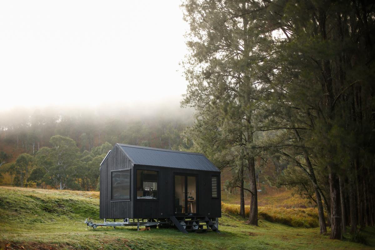 The Barrington Tops Cabin is a simple tiny house that runs off-the-grid with solar panels