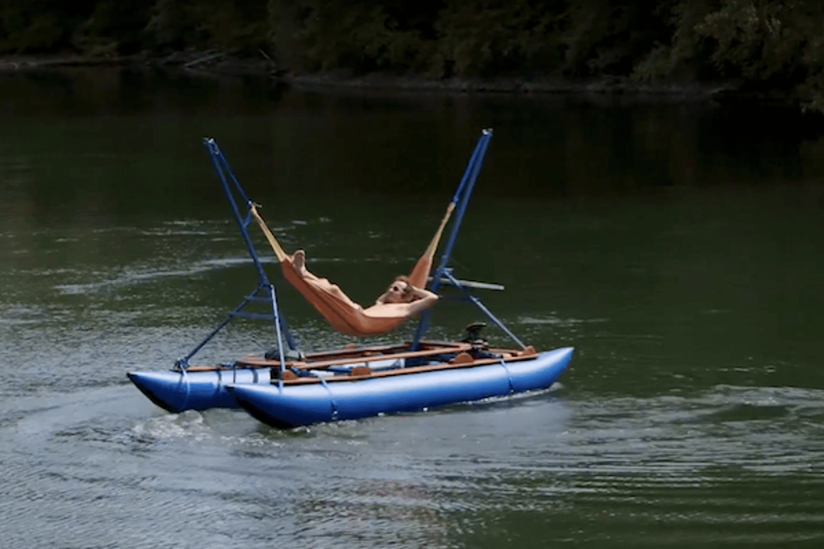 The MelloShip is basically a hammock on a pontoon, for relaxing on the water