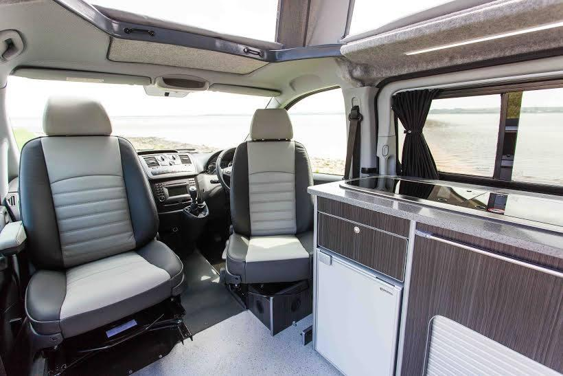 As in many motorhomes, the front captain seats swivel around