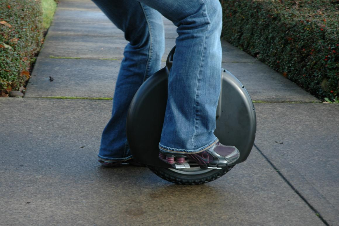 The Solowheel electric unicycle from Inventist has a top speed of 12mph, a range of 12 miles on one charge and to move off, a user puts both feet on the platforms on either side of the wheel housing and leans forward