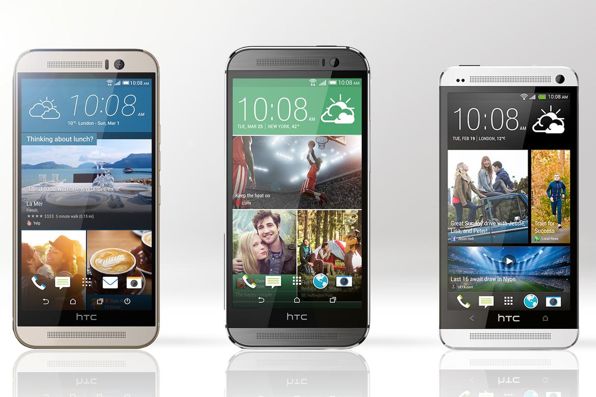 Gizmag compares the features and specs of the HTC One M9 (far left), HTC One M8 (middle) and HTC One M7