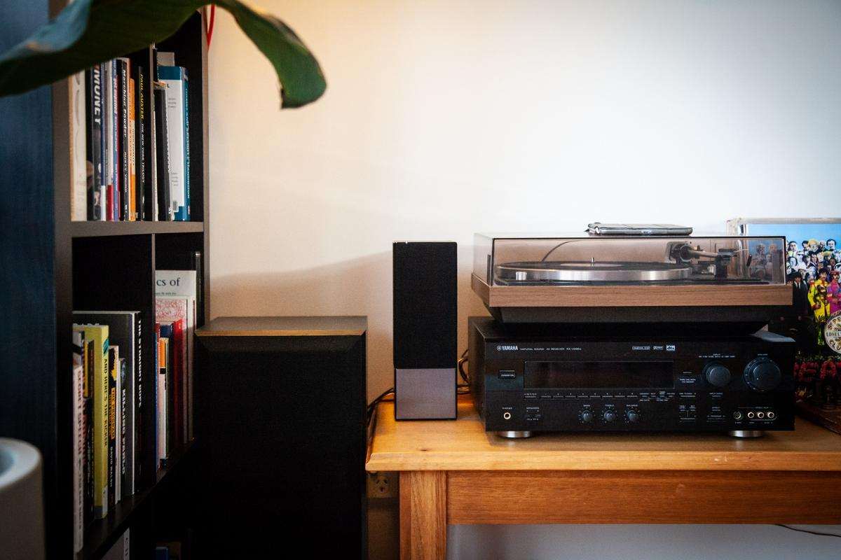 The Panasonic GA-10 speaker, nestled in amongst some comparatively old-school audio gear
