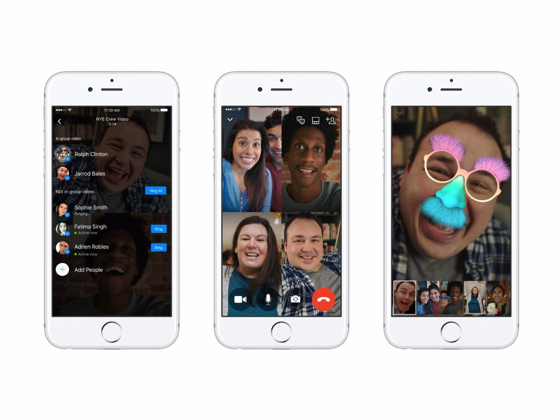 Up to 50 people at once can now share a video chat in Facebook's Messenger app