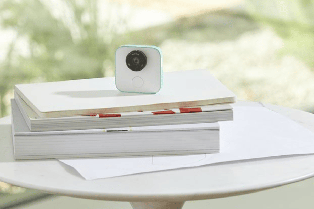 Google's Clips camera can be set down on a flat surface or clipped onto something, like the back of a chair