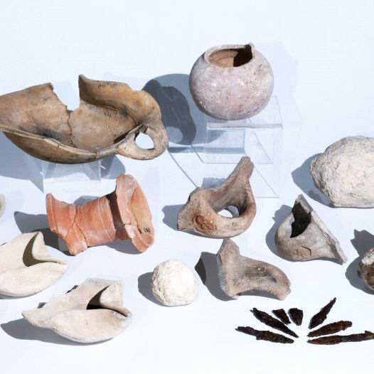 Some of the artefacts found at the Tel Lachish site