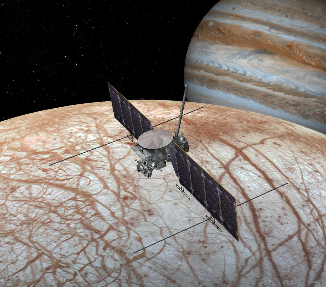 An artist's rendition of the upcoming Europa Clipper mission, which would peer closer at the surface to help answer the question
