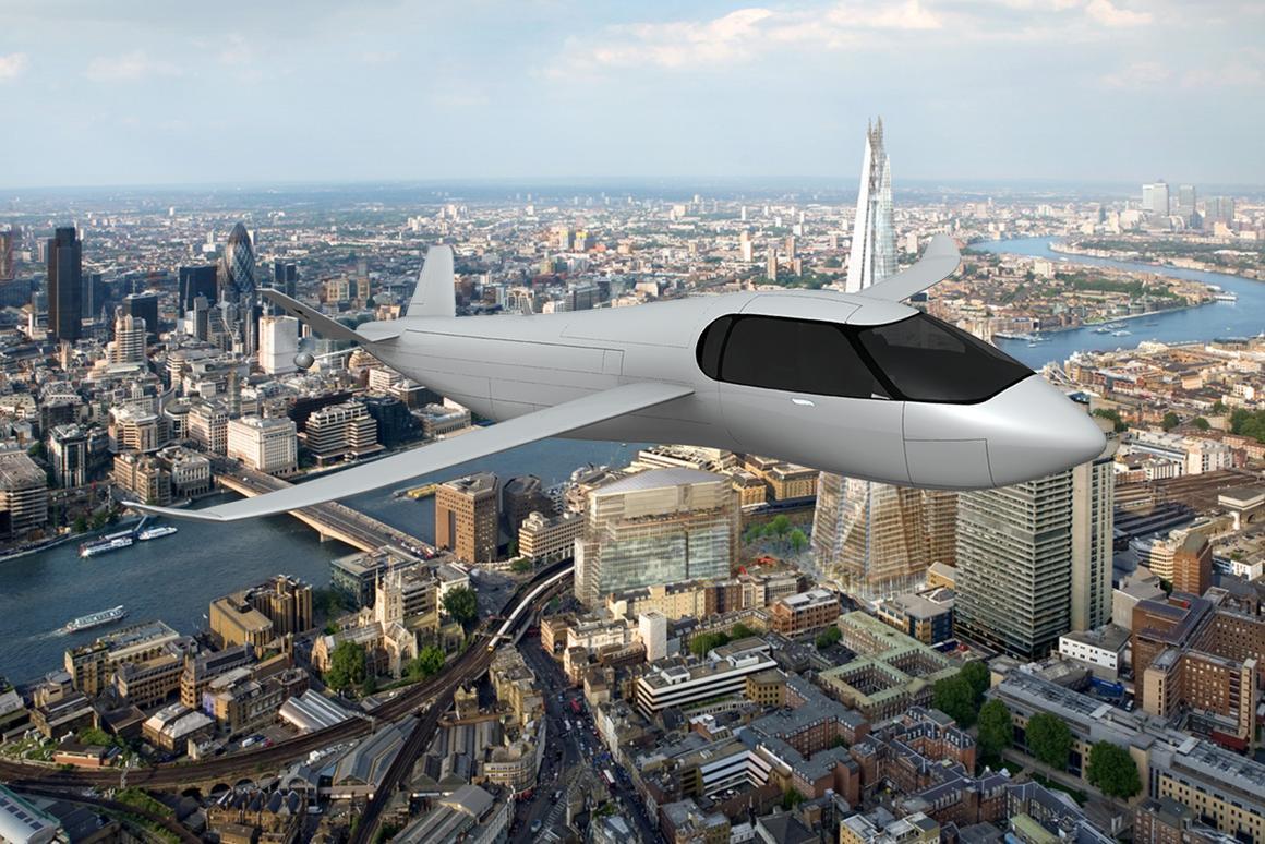 Artist's impression of the Krossblade SkyCruiser over London