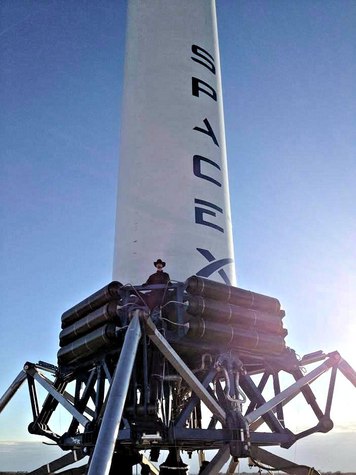 Elon Musk added a 1.8 m (6 ft) tall mascot to the latest Grasshopper flight to add some perspective