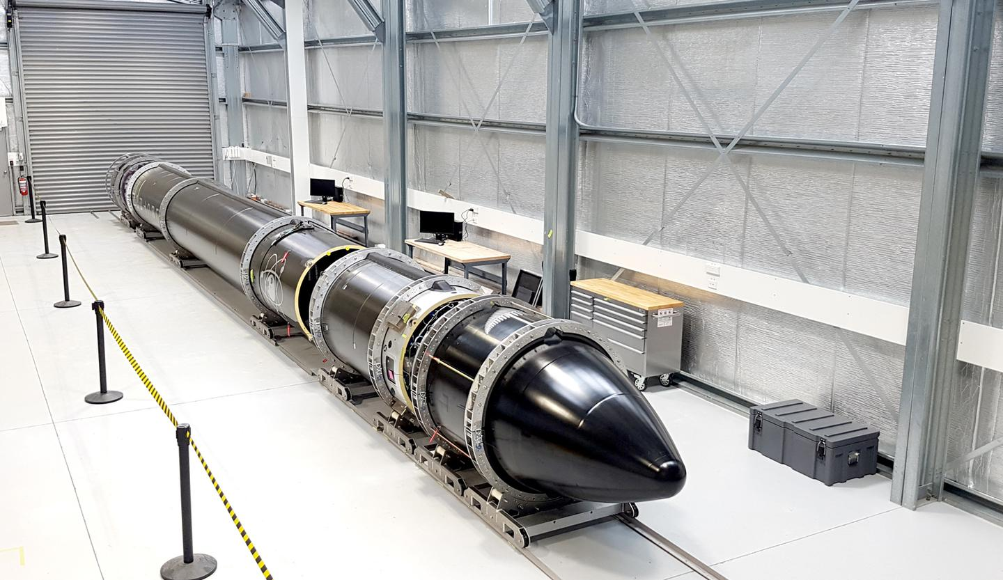 Rocket Lab's Electron booster in the hangar