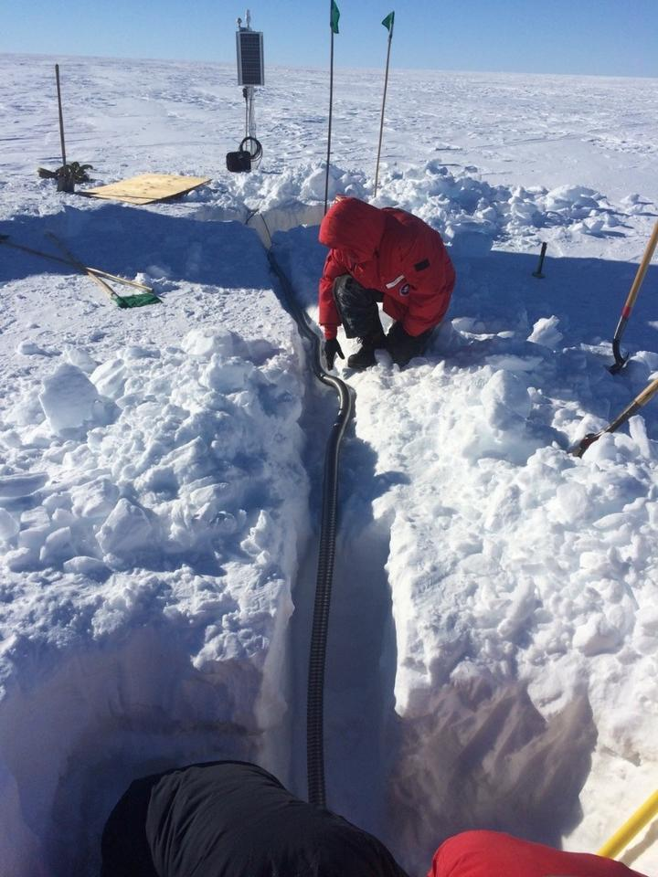 Laying power cables for the solar-powered seismic sensors