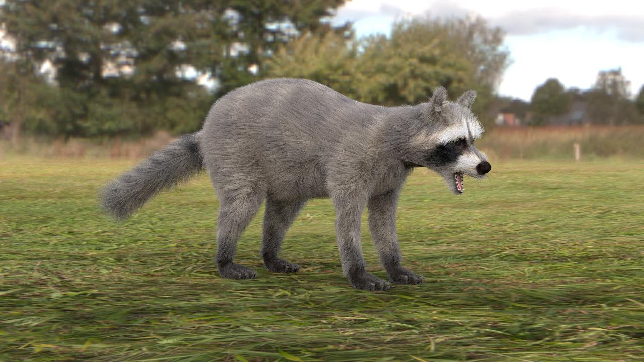 A raccoon with fur created using the new technique