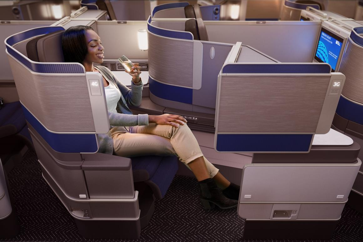 """The """"herring-line"""" cabin configuration mixes in-line seats with angled seats"""