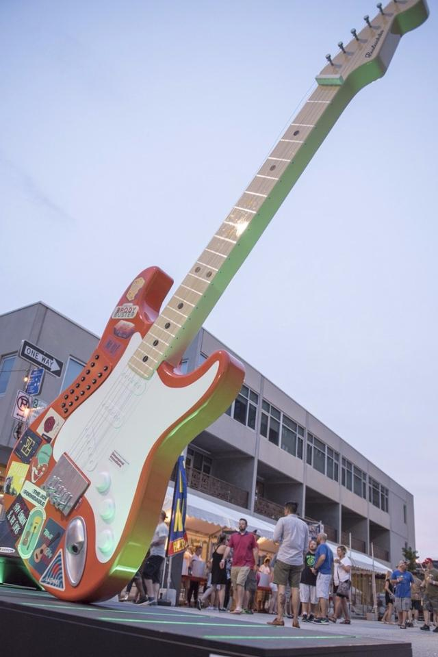 A 12-foot tall, 500 lb playable guitar at the entrance to the Boulevardia festival earlier this month