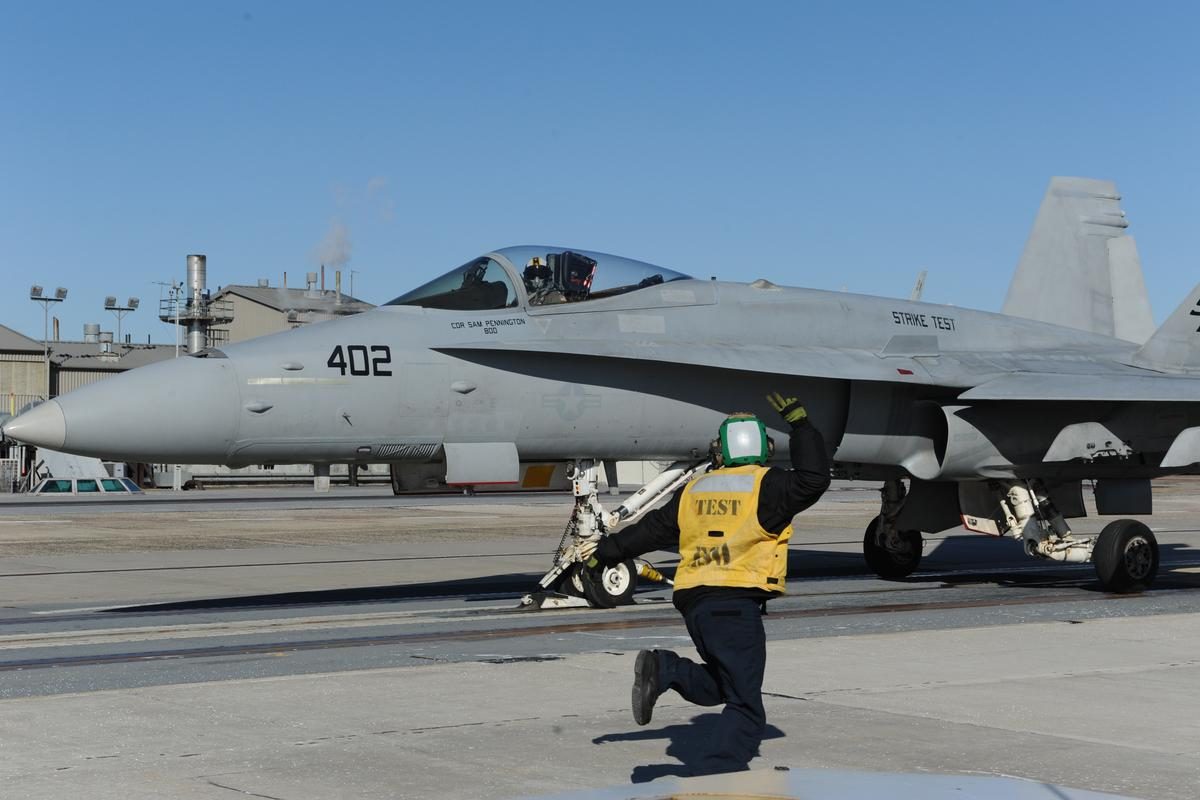 An F/A-18C Hornet is launched from a test runway using EMALS (Image: US Navy)