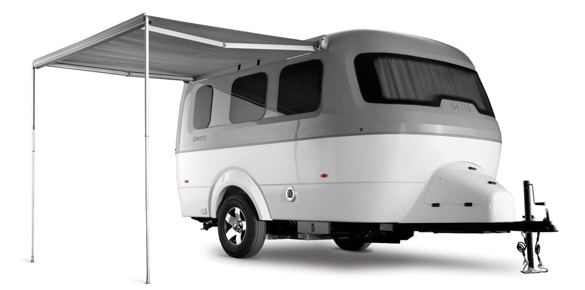 The Nest comes witha generous standard equipment package, including AC, heat, a powered awning and amicrowave