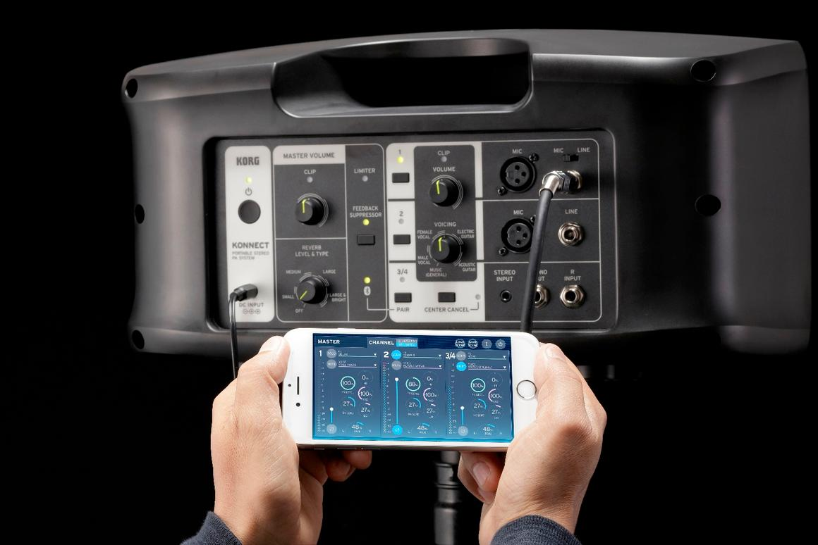 The companion app allows musicians to wirelessly control the Konnect portable PA, as well as offering advanced settings adjustment