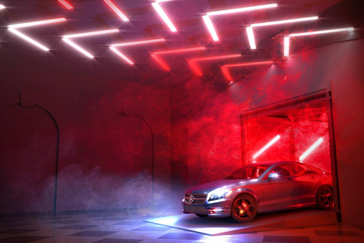 The Mercedes Drive Thru is a combination of light, art, auto and food