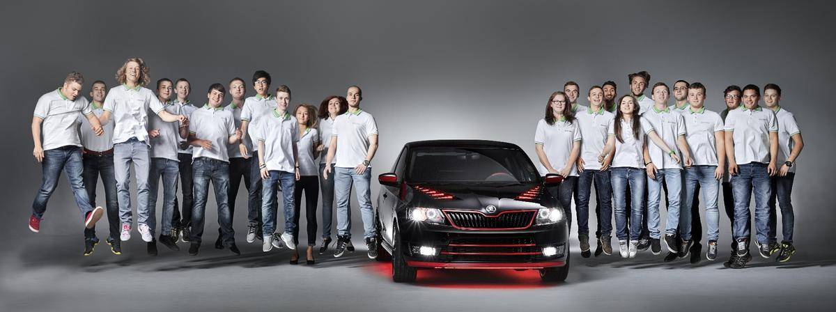 The Skoda Students alongside their creation
