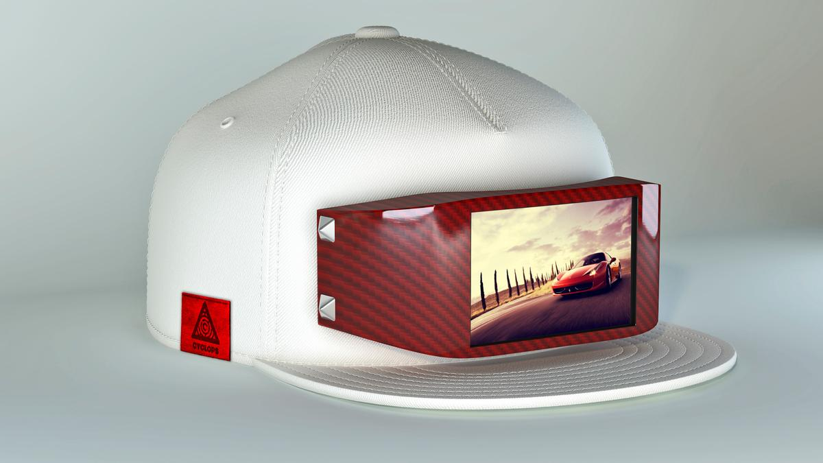 Cyclops fits a snapback hat with an LCD screen for customizable fashion