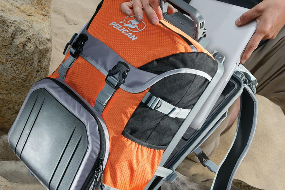 The Pelican ProGear S100 Sport Elite includes a hard, watertight laptop case in the back