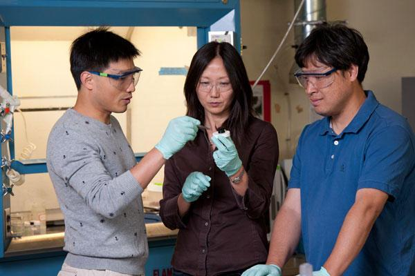 Postdoctoral fellow Guihua Yu, Associate Professor Zhenan Bao and visiting scholar Lijia Pan examine the printable, electrically conductive hydrogel (Photo: Linda A. Cicero / Stanford News Service)