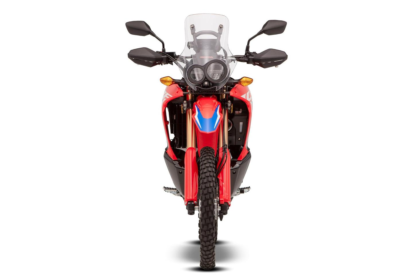 The 2021 Honda CRF300 Rally retains the assymetrical double headlight setup