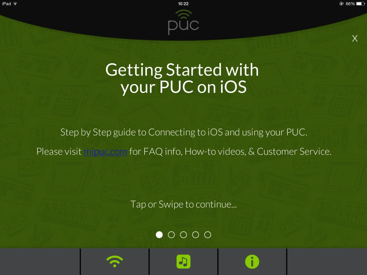 To get started using the device on iOS, the free PUC app must first be downloaded