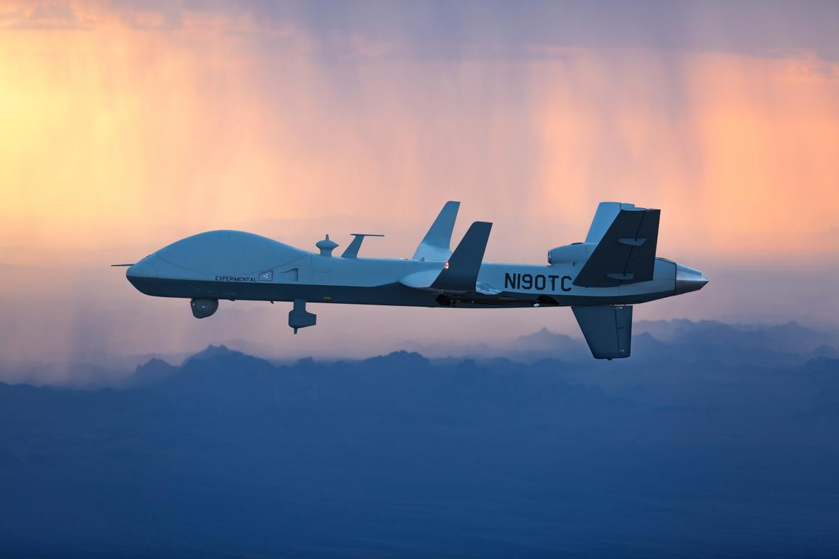 The MQ-9B will fly from General Atomics'Flight Test and Training Center in Grand Forks, North Dakotato RAFFairford in Gloucestershire, UK