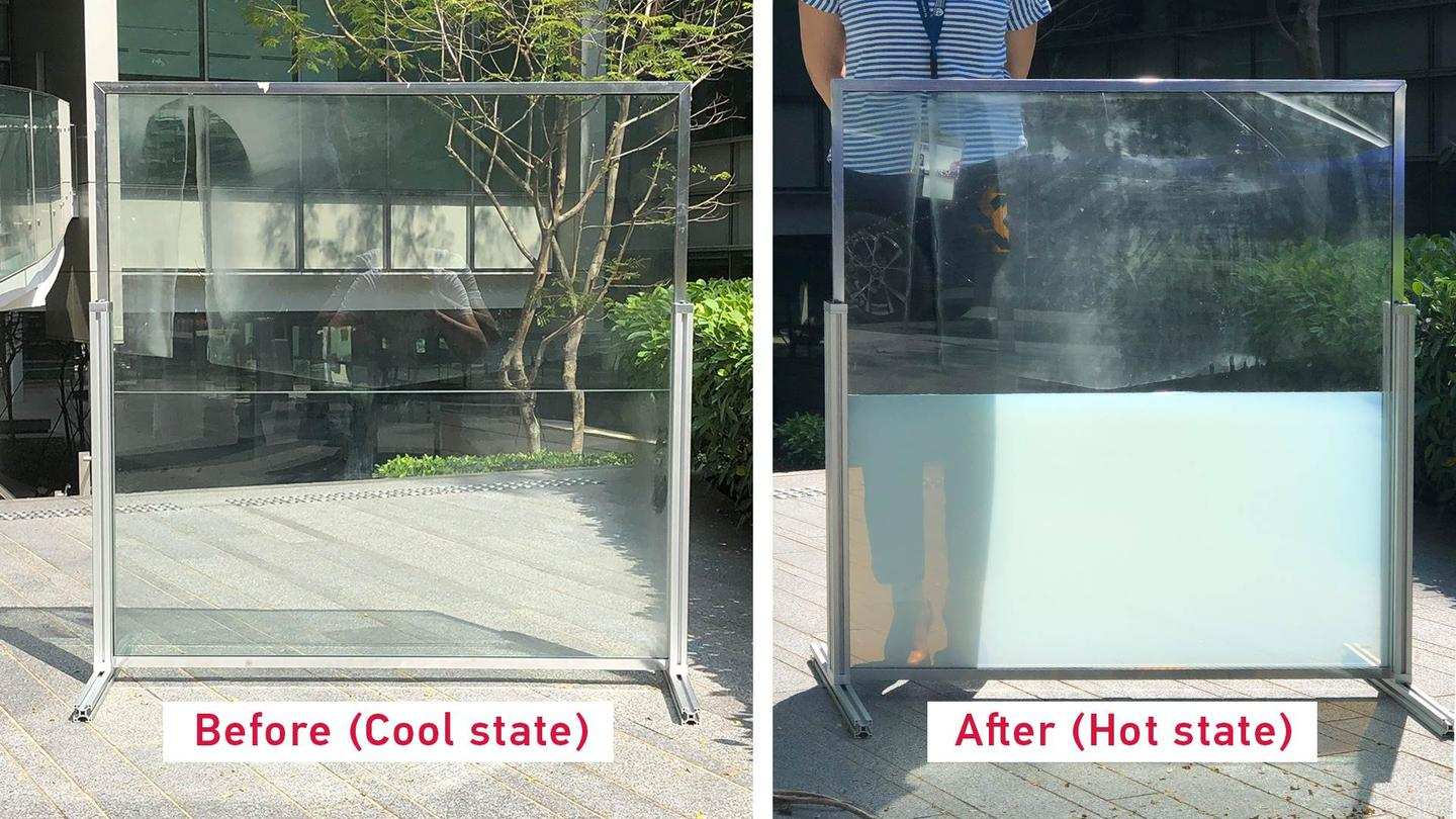 Before and after photos of one of the smart windows, the bottom half of which incorporates the new technology