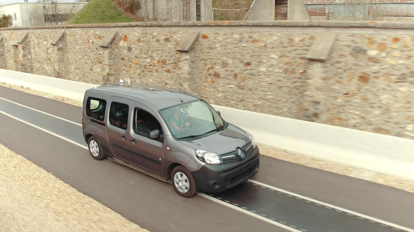 A specially-outfittedRenault Kangoo ZE travels along the test track
